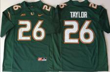 Men's Miami Hurricanes Green #26 TAYLOR Custom Jersey