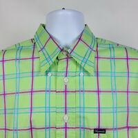 Faconnable Green Purple Check Plaid Mens Dress Button Shirt Size XL USA Made