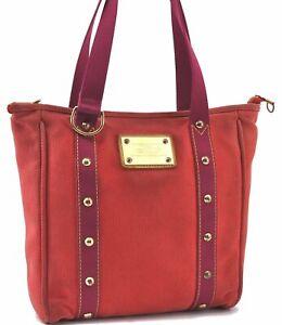 Authentic Louis Vuitton Antigua Cabas MM Tote Bag Red M40034 LV D0461