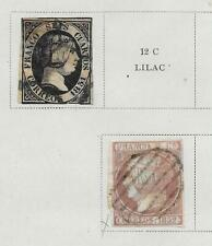 2 Spain Stamps from 19th Century Brown Scott Album 1851-1852