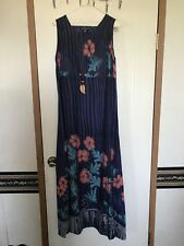 Nick & Sarah Women's  Summer Dress Blue With Black Floral Summer Size Small