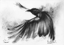 original drawing A4 196NJ art samovar oil dry brush raven Signed 2020