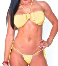 BEAUTIFUL STYLISH TWO PIECE BRAZILIAN CUT YELLOW BIKINI SWIMSUIT