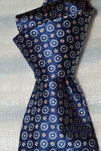 "$235 NWOT BRIONI Blue geometrics 3.6"" Men's handmade woven heavy silk tie Italy"