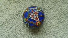 Vintage 1970'S Small Round Cloisonne Box Blue - Flowers - Bird - Nice!