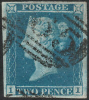 1841 SG15 2d DEEP BLUE PLATE 3 VERY FINE USED 4 LARGE MARGINS VARIETY (II)