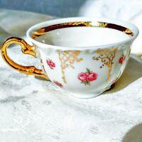 Vintage Winterling Bavaria Germany Demitasse Tea Cup Pink Roses Ample Gold Trim