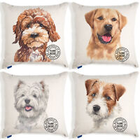 Personalised Dog Portrait Cushion Cover Watercolour Linen Artwork Birthday Gift