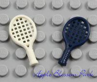 NEW Lego Lot/2 Minifig TENNIS RACKET SET -Blue White Ace Racquet Ball Sport Tool