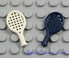 NEW Lego Lot/2 Minifig TENNIS RACKET SET -Blue White Ace Racquet Ball Sport Tool