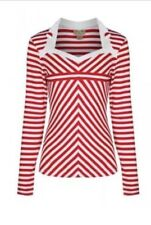 NEW Lindy Bop Red White Stripe Top Size 8