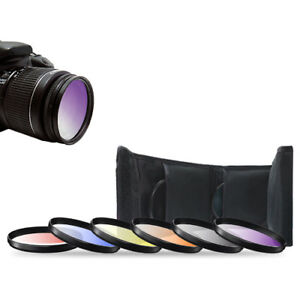 52mm 6pc Gradual Color Filter Kit For Nikon 18-55mm AF-S 55-200mm 50mm f/1.8D
