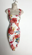 Vestido De Verano 💗 Karen Millen DY221 Blanco Rojo Rosa Floral Lápiz Meneo 12