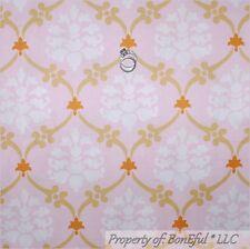 BonEful Fabric FQ Cotton Quilt Pink White Gold Damask L Flower Baby Girl Nursery