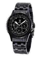 Mens Watch Black Metal Bracelet Big Face Day Date Multifunction Reloj de Pulsera