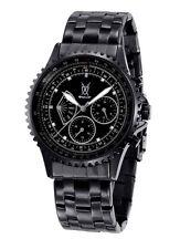 Mens Watch Black Metal Bracelet Big Face Day Date Multifunction Reloj de Pulsera