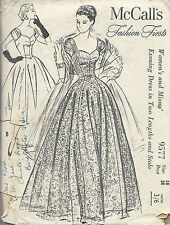 1950s Vintage Sewing Pattern B36 EVENING DRESS & STOLE (E1241)