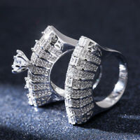 Hot Women 925 Silver Round Cut White Sapphire Wedding 2pc Ring Size 6-10