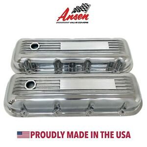 Big Block Chevy Valve Covers - Finned Polished - Engravable Plate - Ansen USA