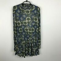 Free People Blouse Size L Green Blue Floral Keyhole Back Long Sleeve Tunic Top