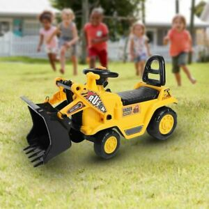 Childrens Kids Ride on Yellow Excavator Digger Push Along Toy Car Tractor