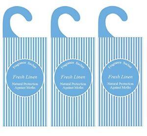 3 x Fresh Linen Fragrance Bags, Moth Repellent & Wardrobe Air Freshener Sachets