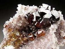 Sphalerite w/Galena on Quartz Crystals, Shuikoushan Ore Field, China
