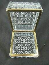 Cut Clear Glass Lead Crystal Hinged Square Jewelry Trinket Box Ormolu Casket