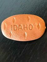Vintage Collectible Idaho Potato Brown Plastic Pinback Lapel Pin Hat Pin
