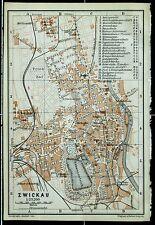 ZWICKAU, alter farbiger Stadtplan, gedruckt um 1900