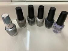 Opi Nail Polish Lot Set of 6 Silver,Gray Shades and Top Coat Full Size Htf