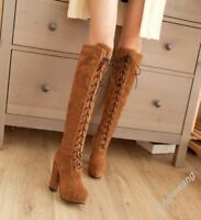 Fashion Womens Block Round Toe Knee High Boots Lace Up High Heel Chunky Shoes SZ