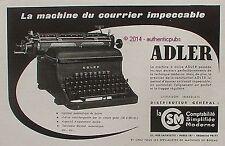 PUBLICITE ADLER MACHINE A ECRIRE COURRIER IMPACCABLE DE 1950 FRENCH AD ADVERT