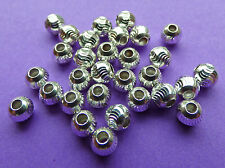 4.0mm 925 Sterling Silver Round S-Cut Spacer Beads 10pcs.