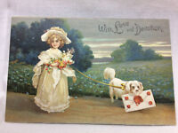 Vtg Embossed Girl and Dog Greeting Valentine Postcard Valentines Day Love