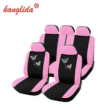 9 Universal Pink Car SUV Seat Covers For Women Butterfly Embroidery Embroidery