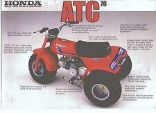 1982 HONDA ATC 70 2 Page ATV Motorcycle Brochure NCS