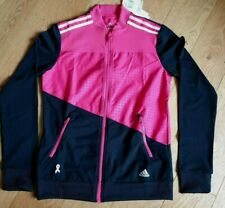 """Adidas Women's Jacket Full Zip Climalite Track Suit Top Z00875 Pink Black 38"""" BB"""