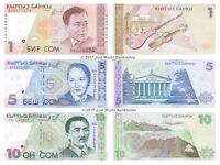 Kyrgyzstan 1 + 5 + 10 Som Set of 3 Banknotes 3 PCS UNC