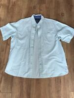 Blue Harbour Turquoise And White Striped Regular Fit Pure Cotton Shirt - Size XL