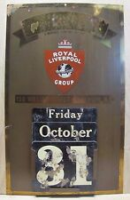 Antique Brass ROYAL LIVERPOOL GROUP Insurance Co Advertising Calendar Sign NY