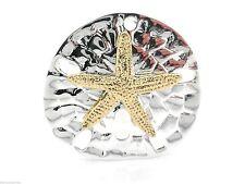 Starfish Sand Dollar Brooch Two Tone Women Pendant Loop