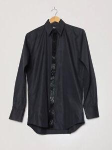 "THIERRY MUGLER Black Cotton Spread Collar Beaded Trim Long Sleeve Shirt 15"""