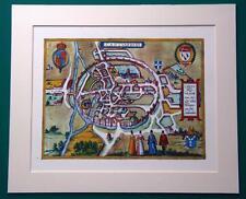 Canterbury Kent Casco Antiguo Mapa De Lona Montados reproducción por Georg Braun c1588