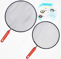 2pk black Metal Mesh Splatter Guard Screen Cover Frying Grill Pan Lids Set Food