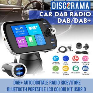 DAB+ AUTO DIGITALE RADIO RICEVITORE BLUETOOTH PORTATILE LCD COLORI KIT USB2.0