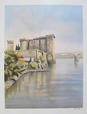 """VICTOR ZAROU """"RIVER FORTRESS"""" Hand Signed Limited Edition Lithograph French Art"""