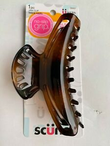 Scunci Jaw Clip Thick Hair 36697 No Slip Grip ALL DAY HOLD Women Girl brown 4.5""