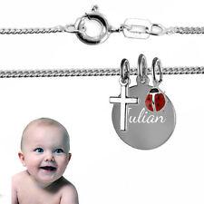 Taufkette, Kinderkette-Kreuz+Gravurplatte+Käfer, Silber925, Inkl. Gravur&Kette