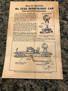 LIONEL #3520 SEARCHLIGHT CAR INSTRUCTIONS DATED 1953